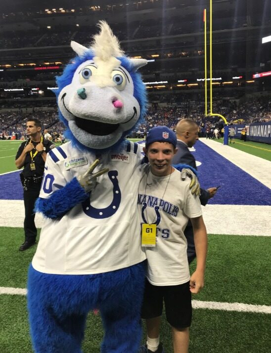 Malachi with Colts Mascot