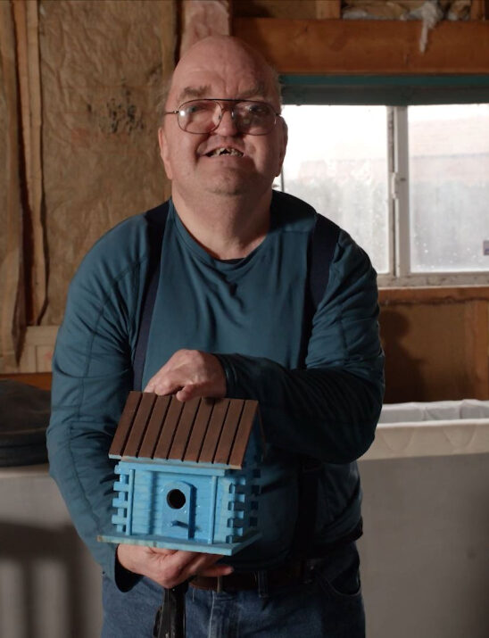 Roger with his birdhouse