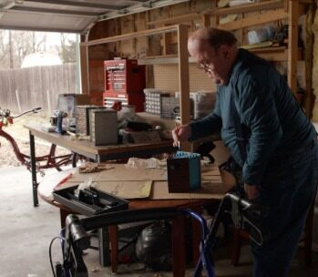 Roger working in his workshop